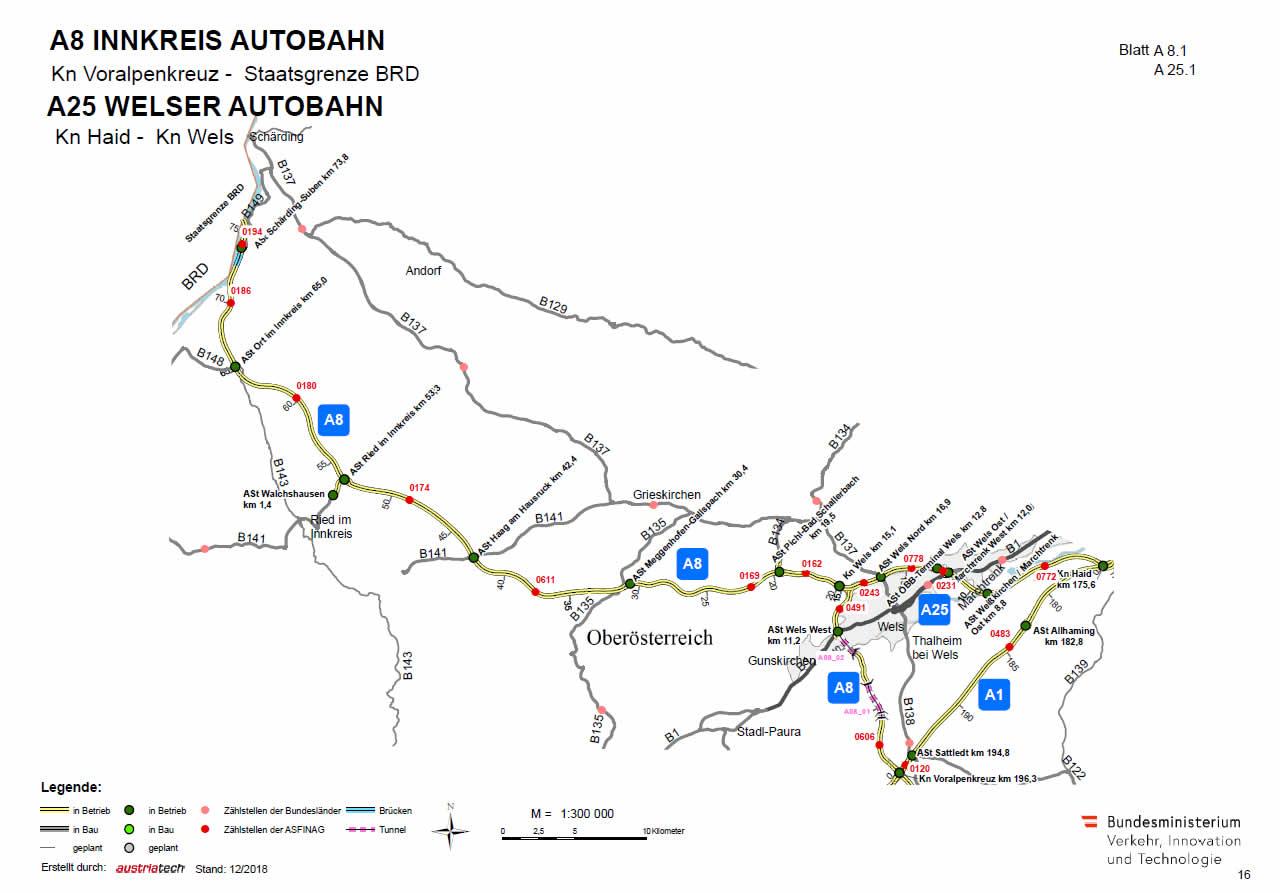 Innkreis Autobahn A8 vom Voralpenkreuz in Richtung Deutschland