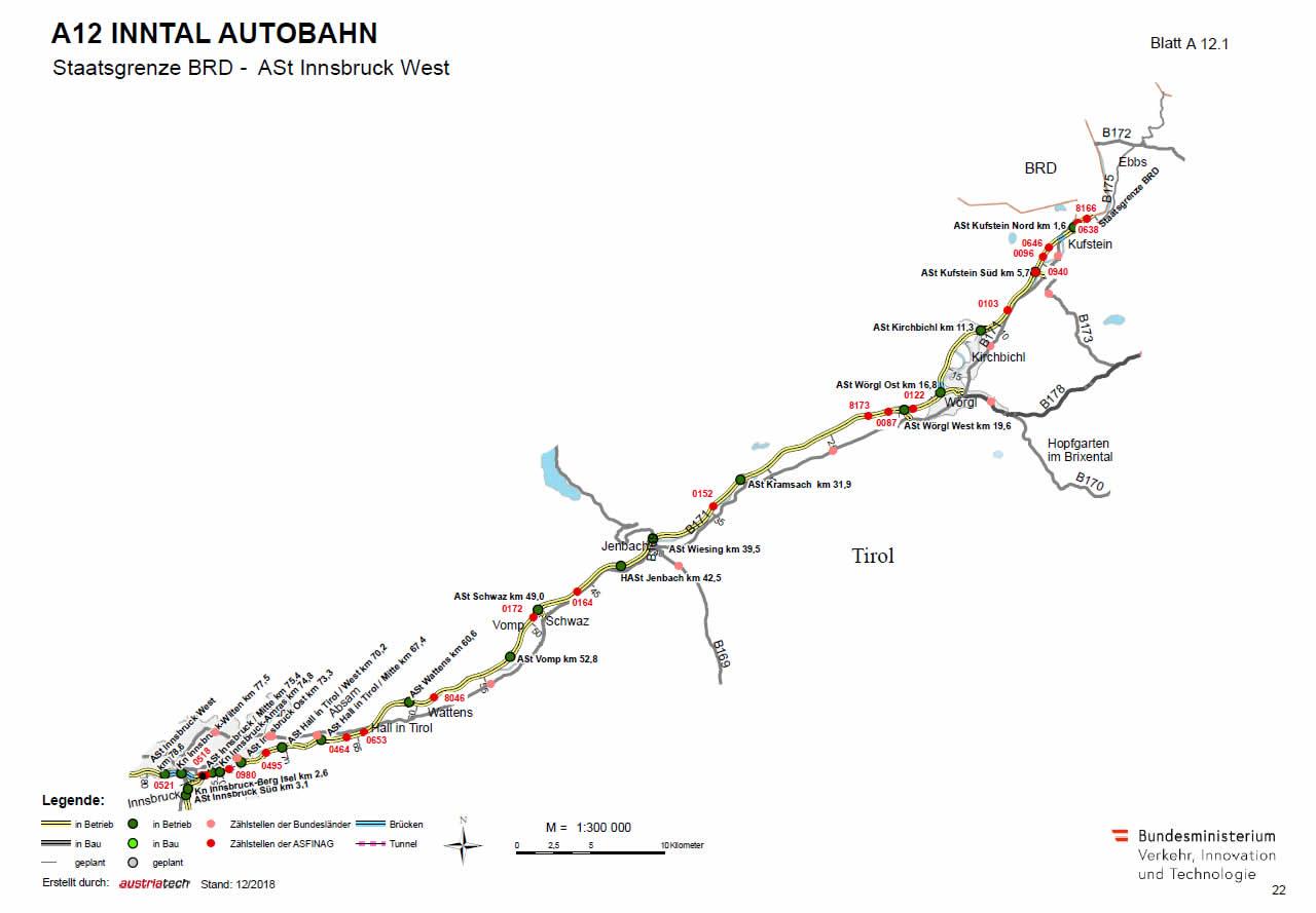 Inntal Autobahn von Deutschland bis Innsbruck