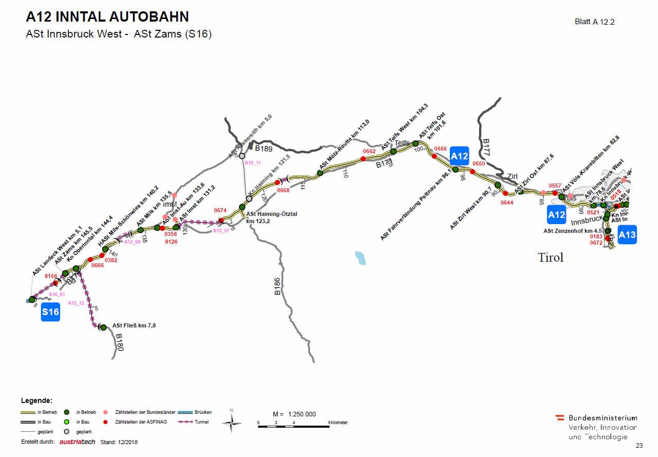 Inntal Autobahn von Innsbruck bis Zams zur S16
