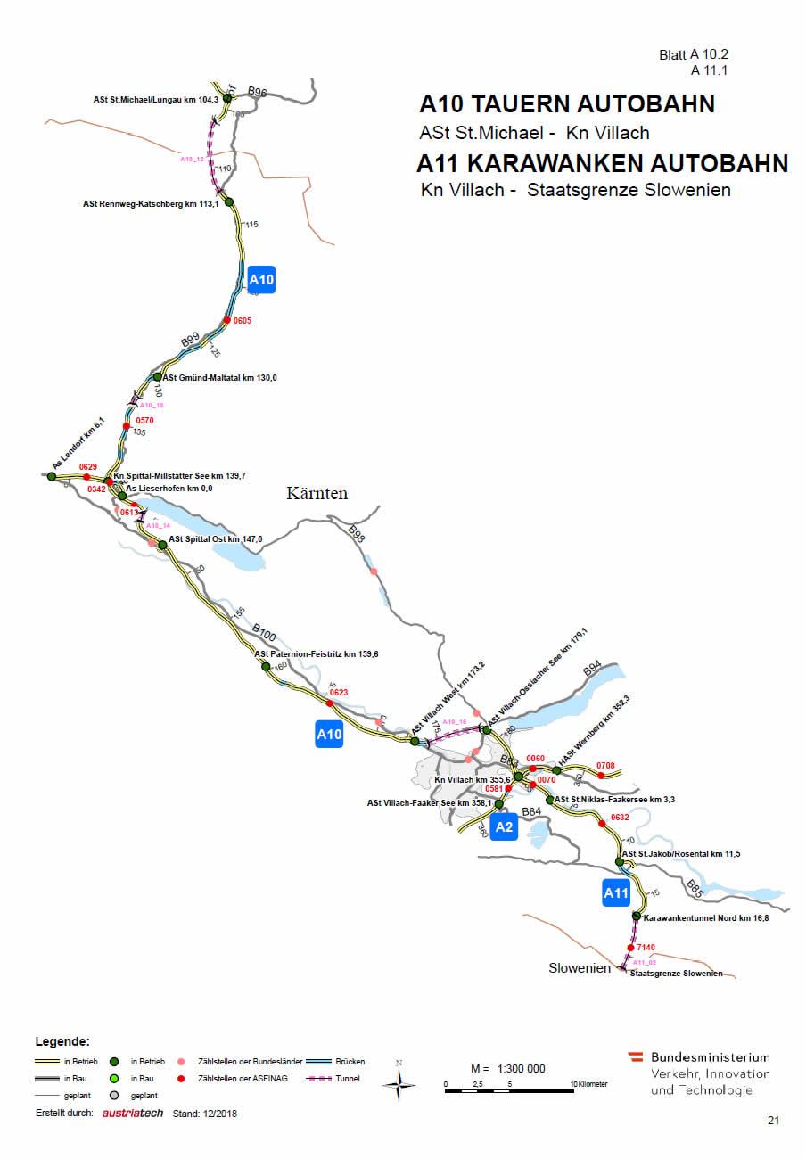 Karawanken Autobahn von Villach bis Slowenien