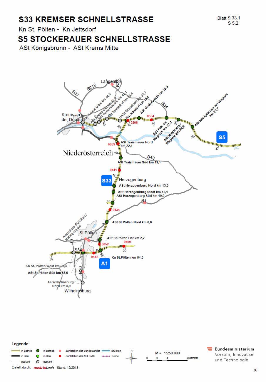 Kremser Schnellstraße von St. Pölten bis Jettsdorf bei Krems