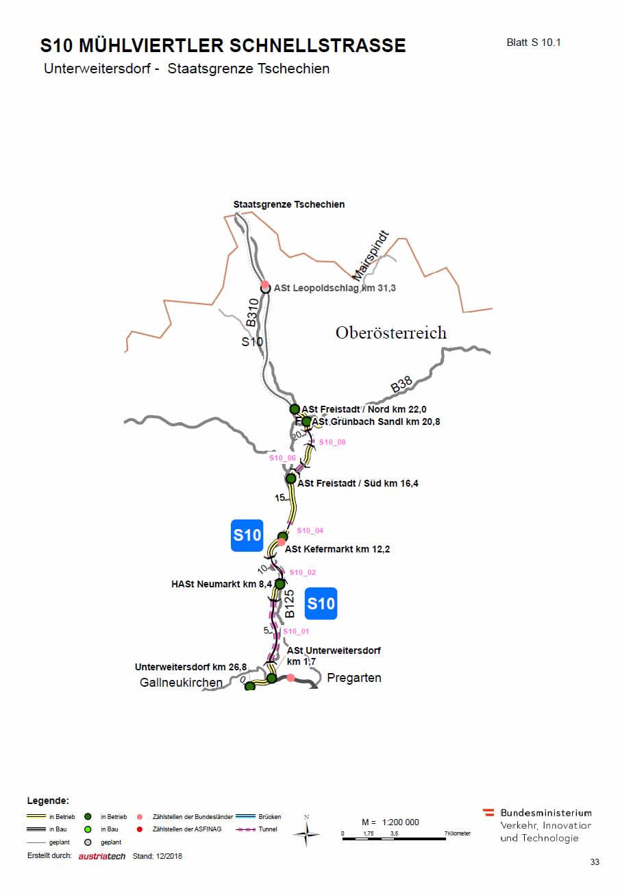 Mühlviertler Schnellstraße von Unterweitersdorf bis Tschechien