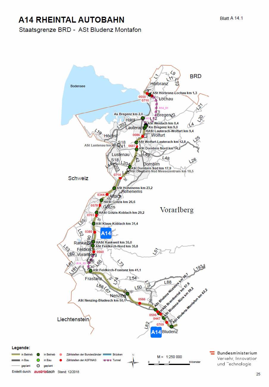Rheintal Autobahn von der deutschen Grenze bis Bludenz