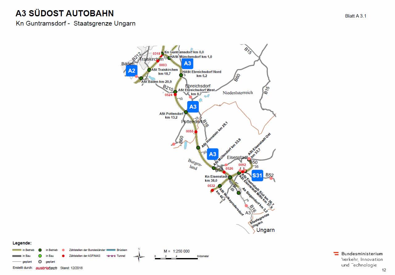 Südost Autobahn von Guntramsdorf bis Ungarn