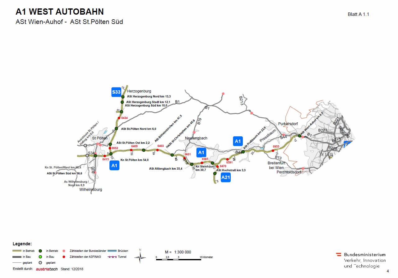 Westautobahn von Wien-Auhof bis St. Pölten Süd