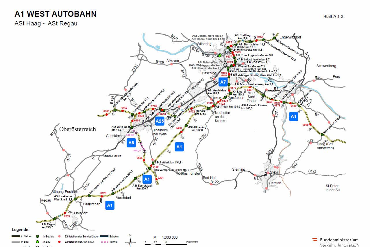 Westautobahn von Haag bis Regau
