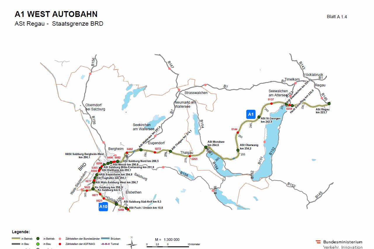 Westautobahn von Regau bis Salzburg