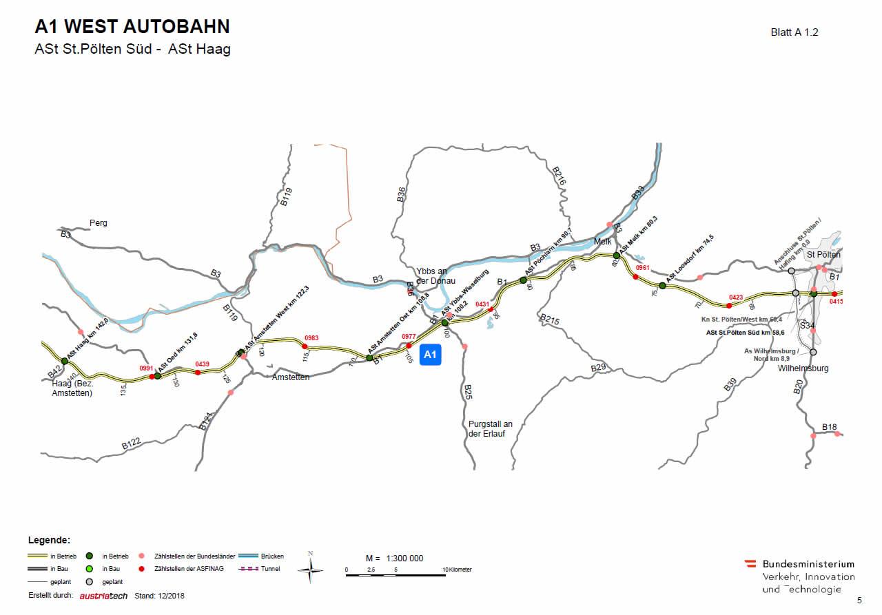 Westautobahn von Sankt Pölten bis Haag
