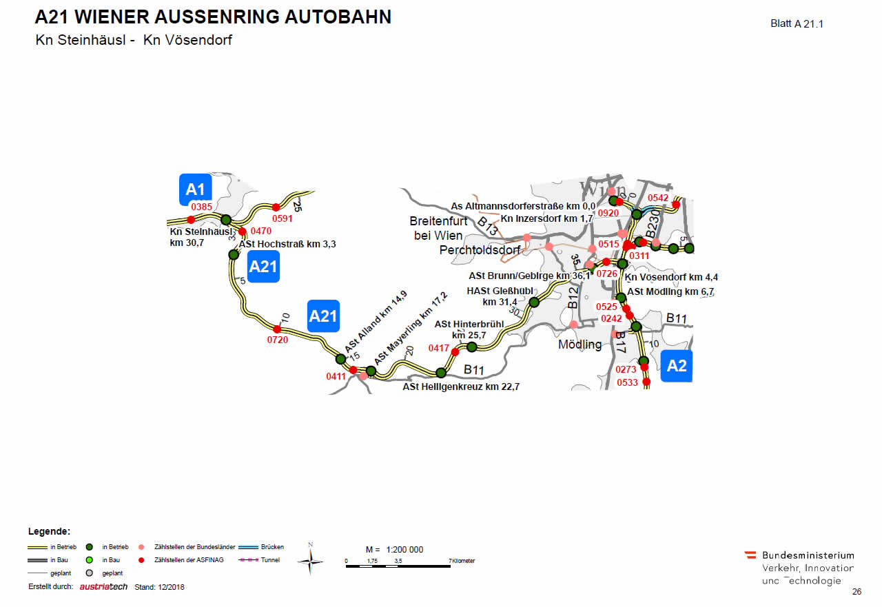Wiener Außenring Autobahn von Steinhäusl bis Vösendorf