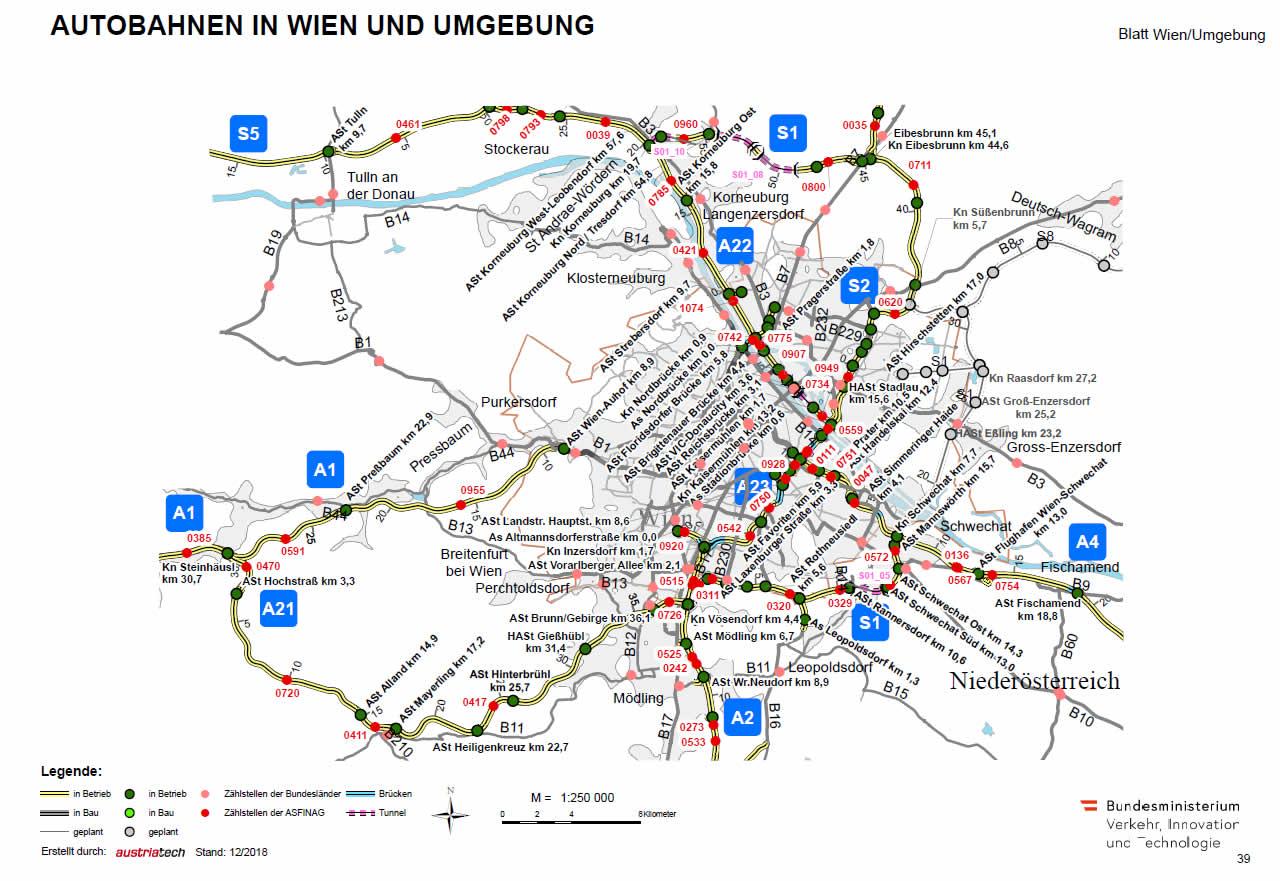 Wiener Südosttangete und alle Autobahnen in Wien