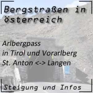 Bergstraße Arlbergpass in Tirol und Vorarlberg