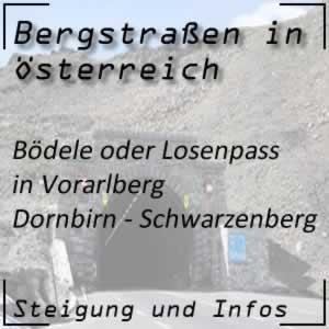 Bergstraße Bödele / Losenpass in Vorarlberg