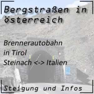 Bergstraße Brennerautobahn von Steinach nach Italien