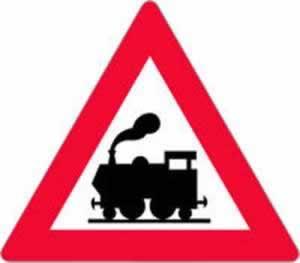Verkehrszeichen Bahnübergang ohne Schranken