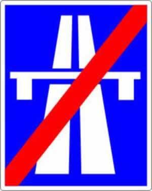 Verkehrszeichen Ende der Autobahn
