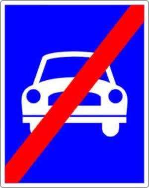 Verkehrszeichen Ende der Autostraße