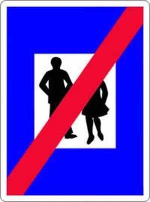 Verkehrszeichen Hinweiszeichen Ende der Fußgängerzone