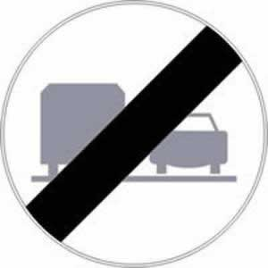 Verkehrszeichen Ende des Überholverbots für LKW