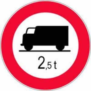 Verkehrszeichen Verbotszeichen Fahrverbot LKW nach Gewicht