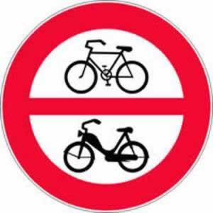 Verkehrszeichen Fahrverbot für Fahrräder und Motorfahrräder