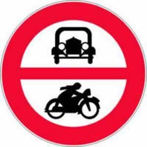 Verkehrszeichen Fahrverbot für alle Kraftfahrzeuge