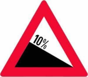 Verkehrszeichen gefährliches Gefälle