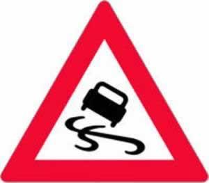 Verkehrszeichen Gefahrenzeichen Schleudergefahr