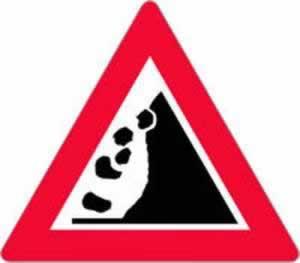 Gefahrenzeichen Steinschlag