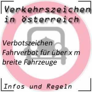 Verkehrszeichen Fahrverbot Breite
