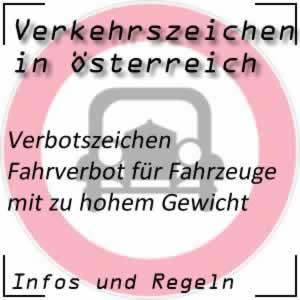 Verkehrszeichen Fahrverbot Gewicht