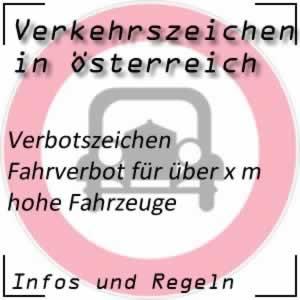 Verkehrszeichen Fahrverbot Höhe