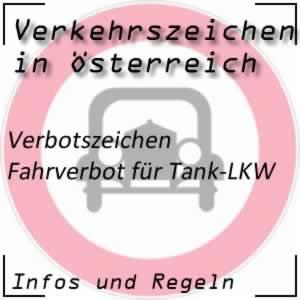 Verkehrszeichen Fahrverbot Tank-LKW