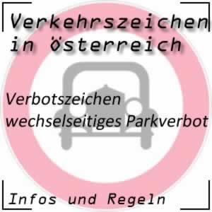 Verkehrszeichen Parken verboten an ungeraden oder geraden Tagen