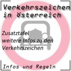 Zusatztafel bei Verkehrszeichen