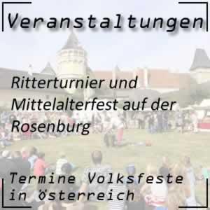 Volksfest Ritterturnier Rosenburg Mittelalterfest