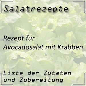 Salatrezept für Avocadosalat mit Krabben