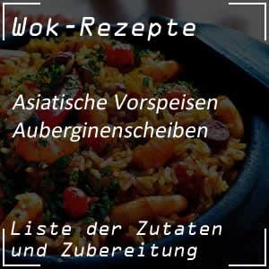 frittierte Auberginenscheiben mit dem Wok