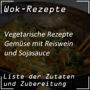 Gemüse mit Reiswein und Sojasauce