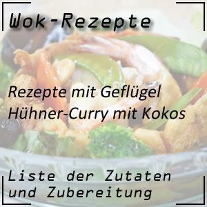 Hühner-Curry mit Kokos mit dem Wok