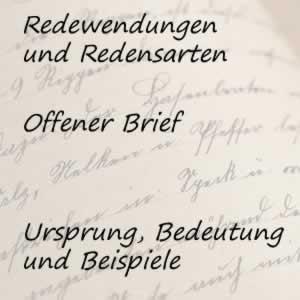 Redewendung offener Brief