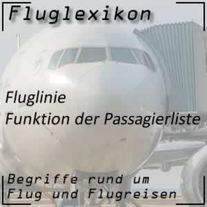 Fluglexikon Fluglinien Passagierliste