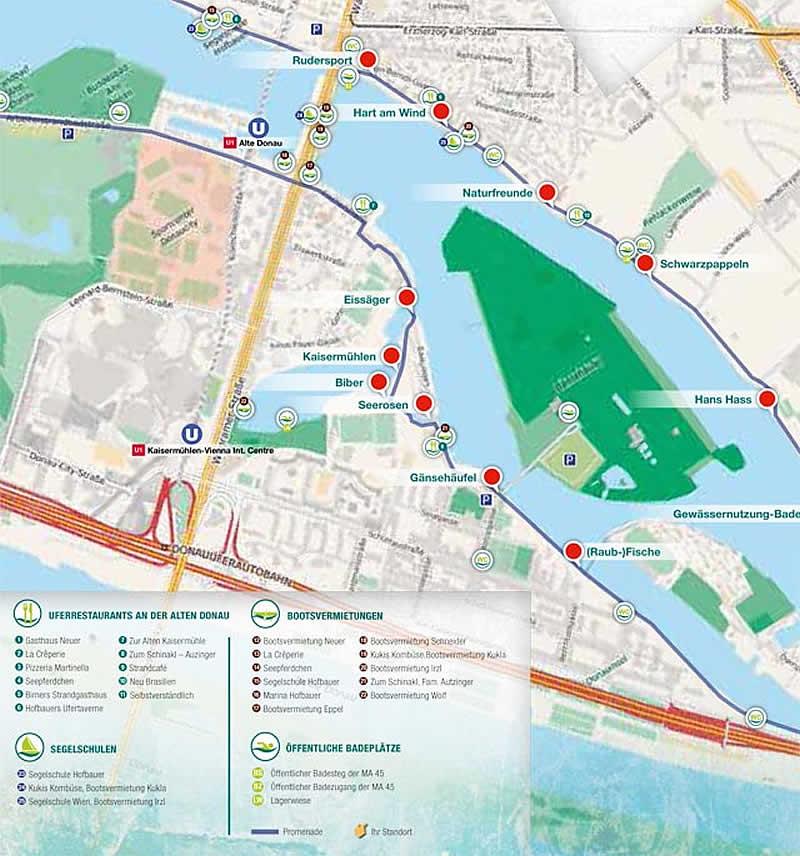 Lageplan Lehrpfad Wiener Wasserweg Alte Donau