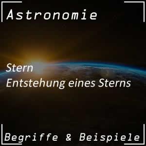 Entstehung eines Sterns im Weltall