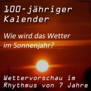 100-jähriger Kalender Sonnenjahr mit Wettervorschau
