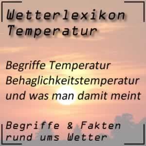 Wetterlexikon Behaglichkeitstemperatur