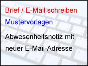 Abwesenheitsnotiz mit Angabe einer E-Mail-Adresse