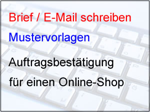 Auftragsbestätigung für Online-Shop