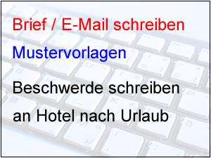 Beschwerde für Hotel schreiben