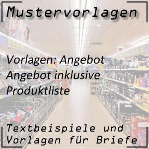 Angebot: Produktliste
