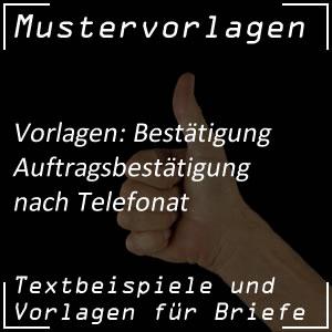 Auftragsbestätigung: Telefonat